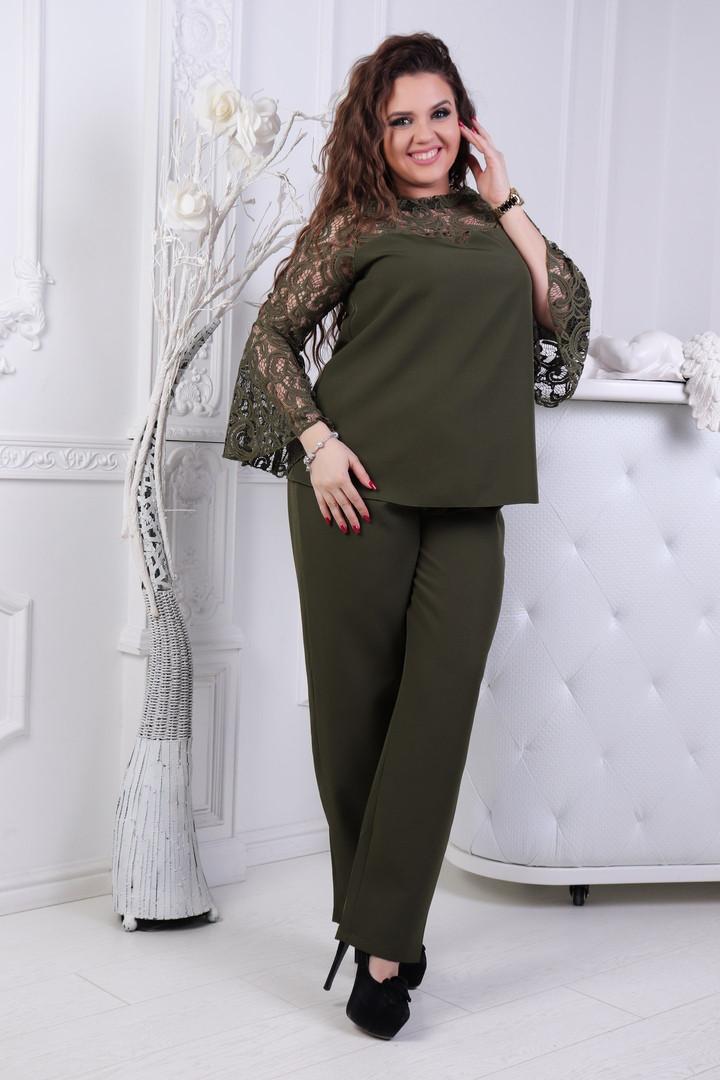 Брючный костюм больших размеров 50+ блузка с кружевом и брюки  /3 цвета арт 6766-6