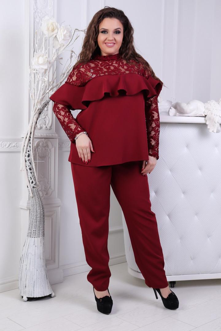 Брючный костюм больших размеров 50+ блузка с кружевом и воланами и брюки  /3 цвета арт 6767-6
