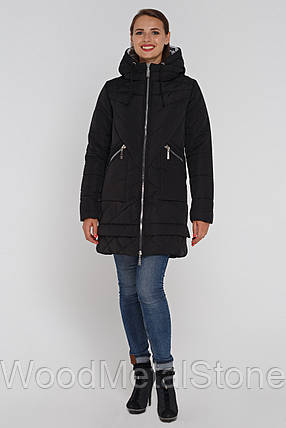 Модная  женская куртка с серебристым капюшоном капюшоном (46-56), доставка по Украине, фото 2