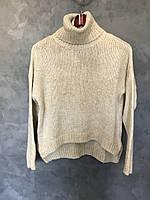 Женский свитер со спущенными плечами 1/3. Размер S, M, L. Цвет бежевый, фото 1