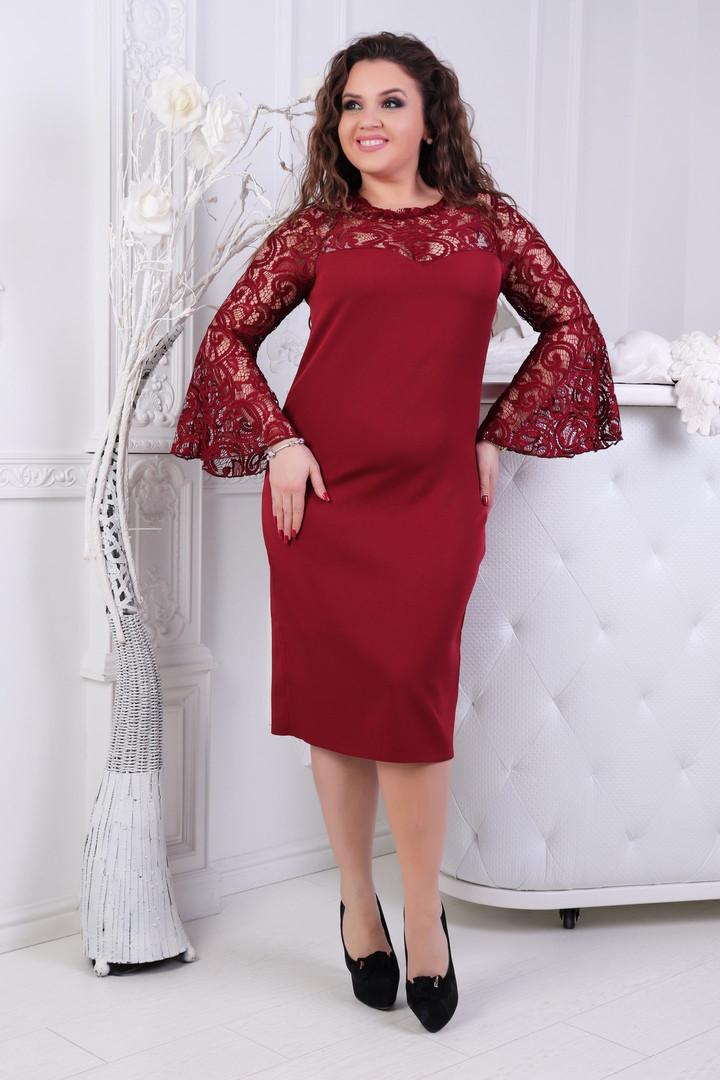 Приталенное платье больших размеров 50+ с кружевными расклешенными рукавами / 4 цвета   арт 6769-6