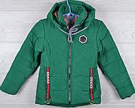 """Куртка демисезонная """"Gucci реплика-6"""" для девочек. 5-6-7-8-9 лет (110-134 см). Зеленая. Оптом., фото 1"""