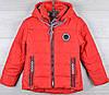 """Куртка демисезонная """"Gucci реплика-6"""" для девочек. 5-6-7-8-9 лет (110-134 см). Красная. Оптом."""
