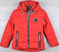 """Куртка демисезонная """"Gucci реплика-6"""" для девочек. 5-6-7-8-9 лет (110-134 см). Красная. Оптом., фото 1"""
