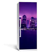 Интерьерная виниловая наклейка на холодильник Ночной город 1 ПВХ пленка 650*2000 мм глянцевая с ламинацией