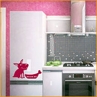 Интерьерная наклейка на холодильник Счастливый пес матовая 270х600 мм, фото 1