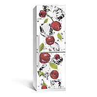 Виниловая наклейка на холодильник Черешня ламинированная двойная (пленка самоклеющаяся)