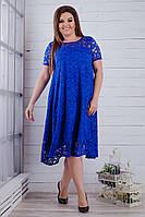 Копия Женское нарядное платье из гипюра 50 - 64, электрик