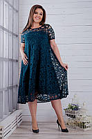 Женское нарядное платье из гипюра 50 - 64, цвет бутылка