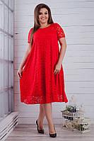 Женское нарядное платье из гипюра 50 - 64, цвет красный