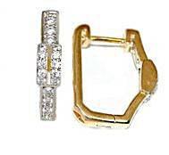 Серьги ХР позолота+родий, камень: белый циркон, высота серьги 1.8 см. ширина 3 мм.