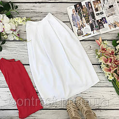 Стильная юбка-миди в белом цвете  KI1836056
