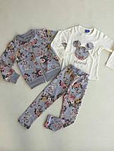 Красивый костюм тройка для девочки из трикотажа принт Цветы 3-4, и 9-10 лет, Турция, фото 2