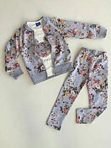 Красивый костюм тройка для девочки из трикотажа принт Цветы 3-4, и 9-10 лет, Турция, фото 3