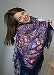 Миндаль 1369-13, павлопосадский платок (шаль) из уплотненной шерсти с шелковой вязанной бахромой, фото 3