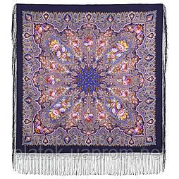 Миндаль 1369-13, павлопосадский платок (шаль) из уплотненной шерсти с шелковой вязанной бахромой