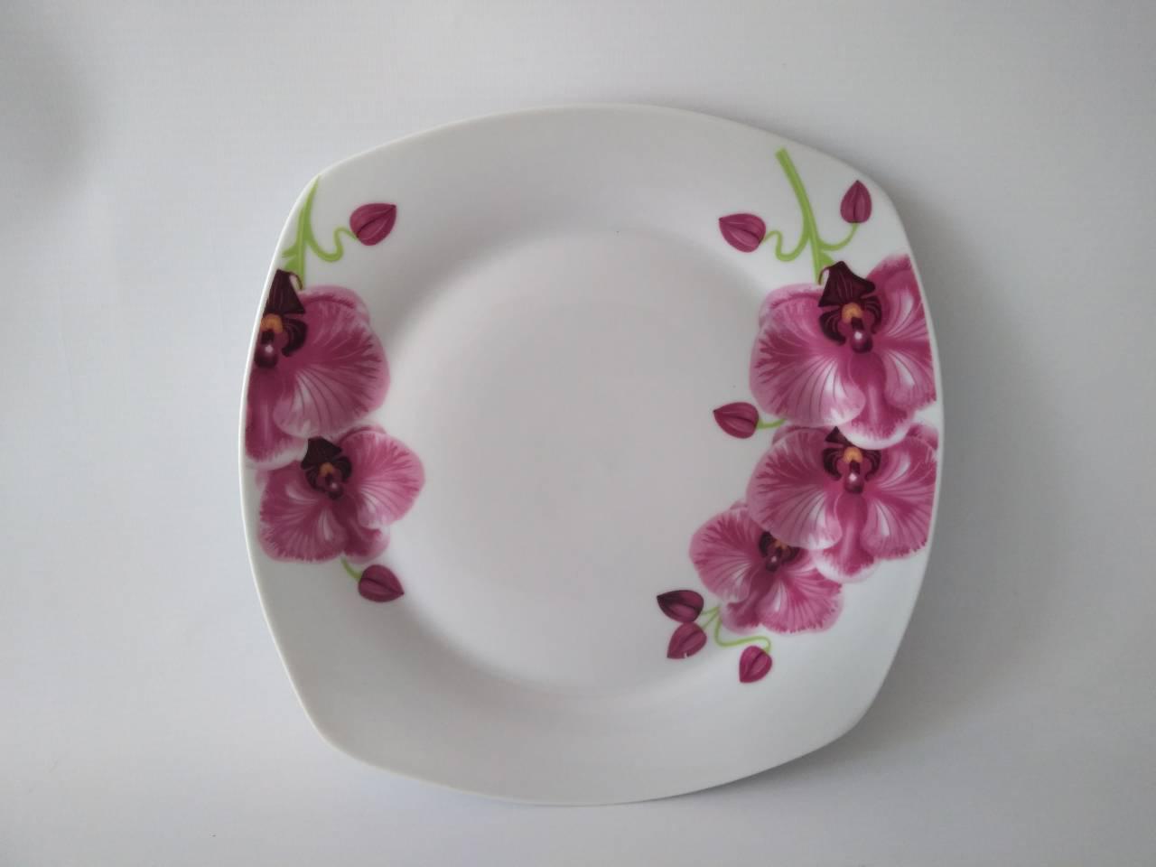 Тарелка квадратная 8мл Орхидея 17-092