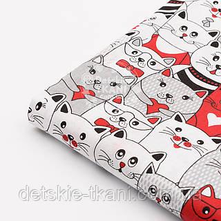 Лоскут ткани №1172  с красными и серыми котами
