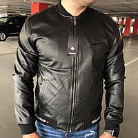 Мужская куртка Dsquared2 Sport Jacket черная ветровка кожзам дисквайред   реплика