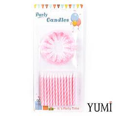 Свічки для торта 24 шт, Спіраль рожева з білими підставками