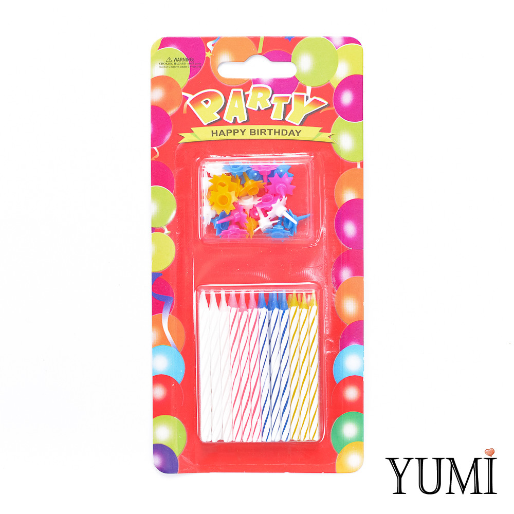 Свечи PARTY для торта Cпираль 24 шт. МИНИ с разноцветными подставками