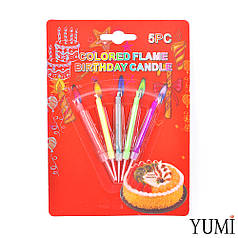 Свічки для торта кольорові вогні, 5 шт.