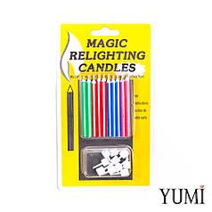 Свічки для торта магічні незадуваємі 10 шт,