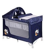 Манеж-кровать Lorelli SAN REMO ROCKER 2  BLUE GOOD NIGHT BEAR, фото 1