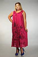 Платье - разлетайка (ламбада), малиновое, на 52-64 размеры , фото 1