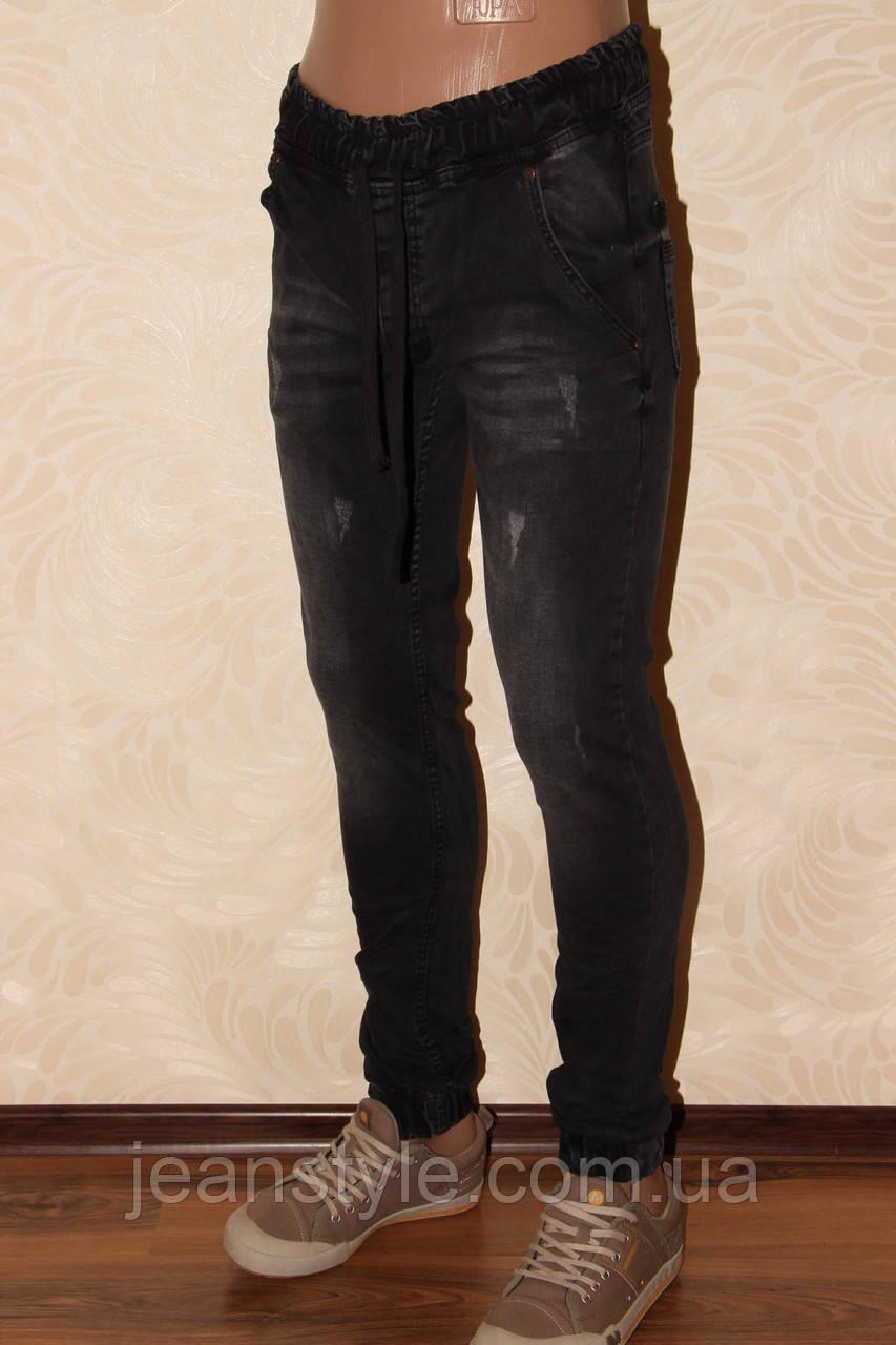 """898b277d276 Мужские джинсы """"Redcode"""" Чёрные с потертостями внизу манжет."""