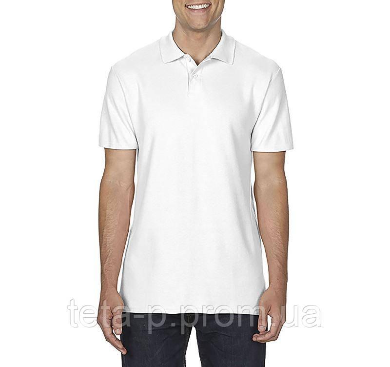 Белое мужское поло Gildan, SoftStyle 177