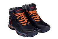 Мужские зимние кожаные ботинки Merell Shoes Black (реплика)