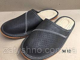 Тапочки кожаные мужские, черные