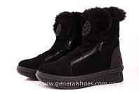 Женские зимние ботинки замшевые кожаные на змейках с лого и опушкой D 15231 сапоги черные подошва не скользит