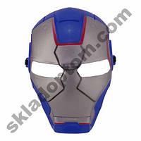 Маска пластик Железный человек (голубая)