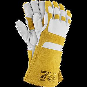Перчатки для сварочных работ HONEYBEE WY 11 из козьей кожи , бело-медового цвета. REIS