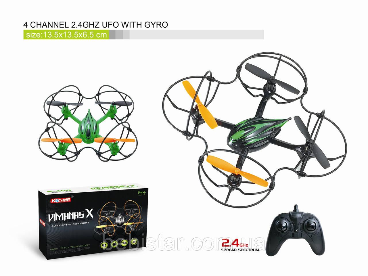 Квадрокоптер K400 з гіроскопом, світло, USB (зелений)
