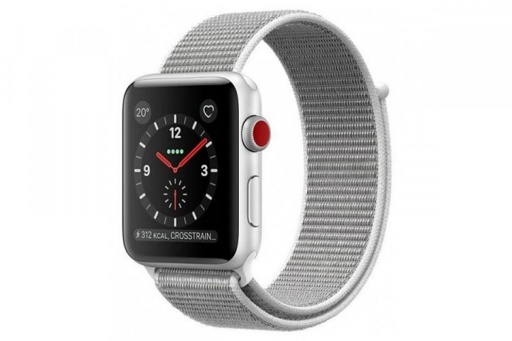 Apple Watch Series 3 GPS + LTE 38mm Silver Aluminum Case with Seashell Sport Loop (MQKJ2)