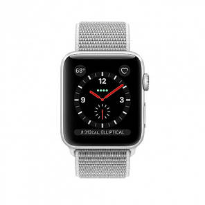 Apple Watch Series 3 GPS + LTE 38mm Silver Aluminum Case with Seashell Sport Loop (MQKJ2), фото 2