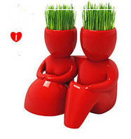 Травянчик керамический красный двойной - пара сидит