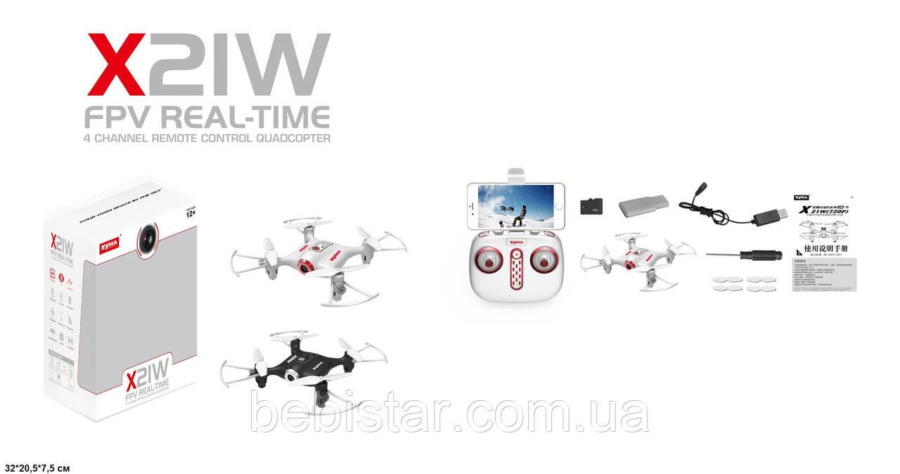 Квадрокоптер Syma X21W с гироскопом, камера, Wi-Fi, FPV, свет, вращ.на 360гр, аккум., USB (белый)