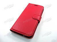 Кожаный чехол книжка Xiaomi Mi A2 (красный)