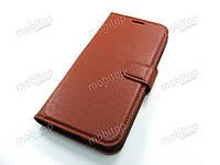 Кожаный чехол книжка Xiaomi Mi A2 (коричневый)