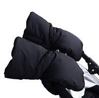 Теплые зимние рукавички (перчатки) с креплением на коляску (раздельные, универсальные)