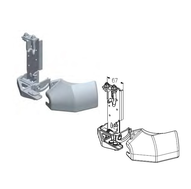 Кронштейн роликовый нижний RBI-45.110D L - левый