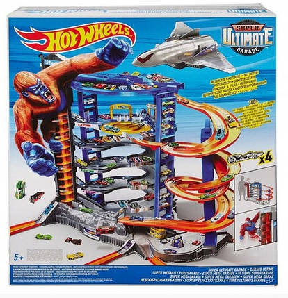 Гараж парковка Hot Wheels Ultimate FDF25 + 4 автомобилей, фото 2