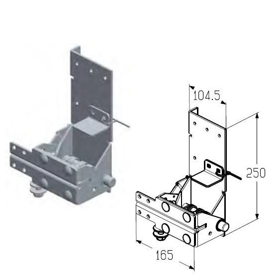 Кронштейн роликовый нижний RBI-45.120D L левый