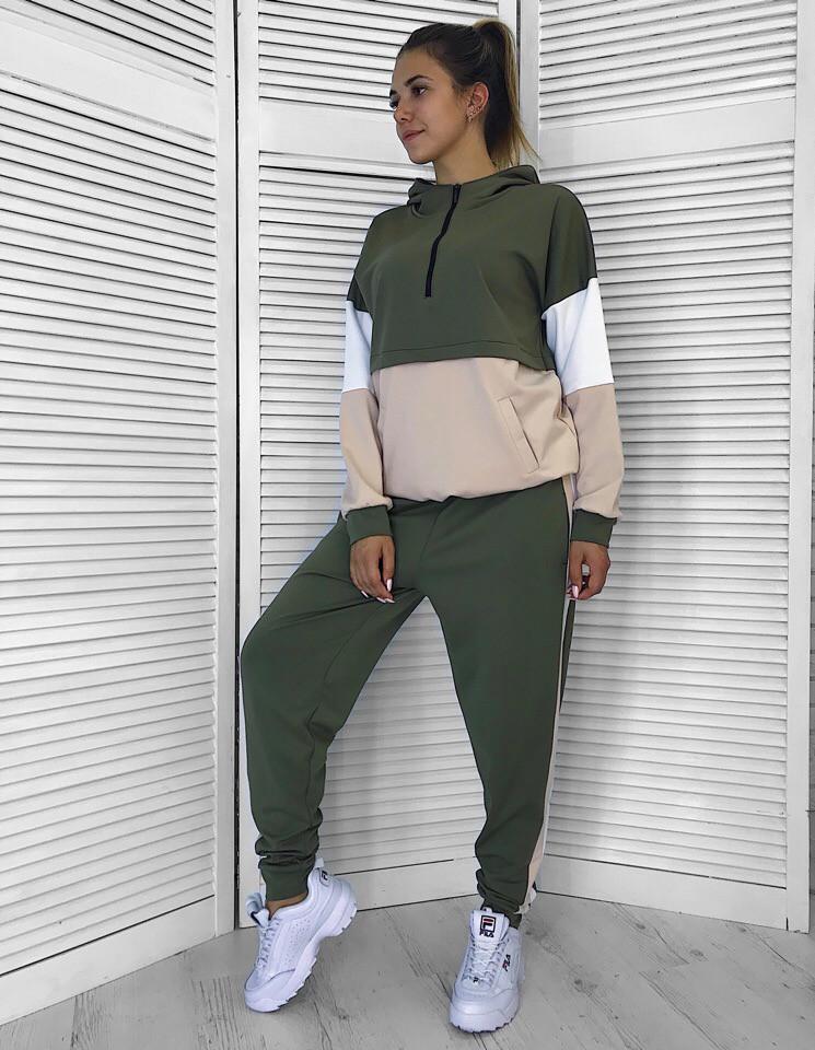 Свободный спортивный женский костюм трехцветный 6505424