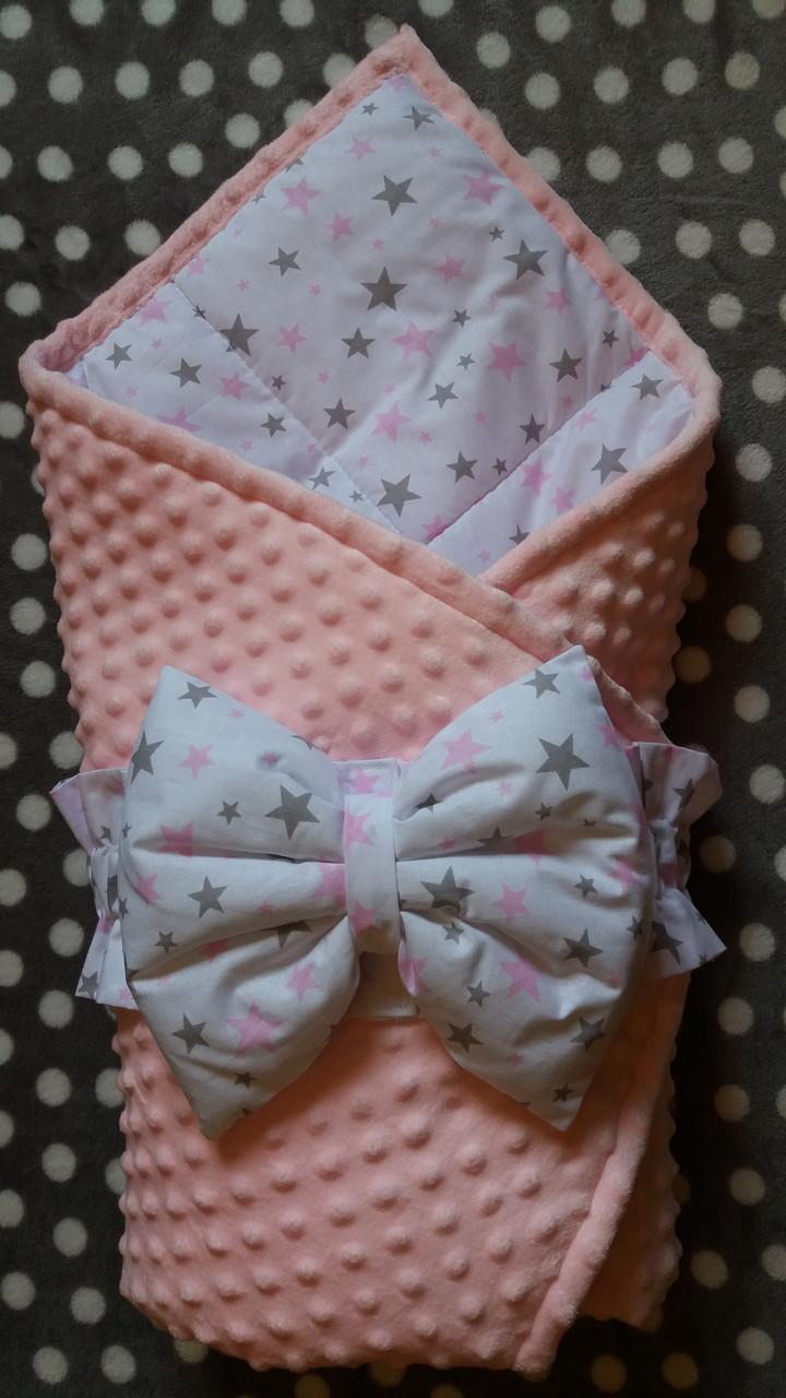 dd1f7f4dbd9 Конверт-одеяло на выписку плюшевый розовый Minky 90х80 Звезды ВЕСНА ОСЕНЬ  ЗИМА