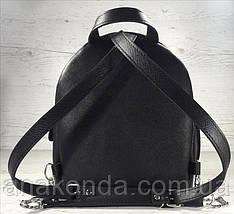 111-3 Натуральная кожа Городской рюкзак Кожаный рюкзак Из натуральной кожи Рюкзак женский черный рюкзак черный, фото 3